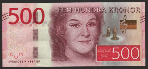 Sweden 500 Kronor 2015 (2016) UNC NEW Birgit Nilsson