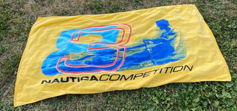 """Vintage 90s Nautica Competition Spell Out Multi-Color Beach Towel 33"""" x 60"""""""