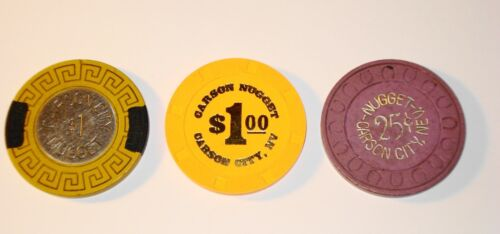 Carson Nugget .25 & $1.00 Casino Chips NV TCR# N4996 E3267 N4414.1 Lot of 3