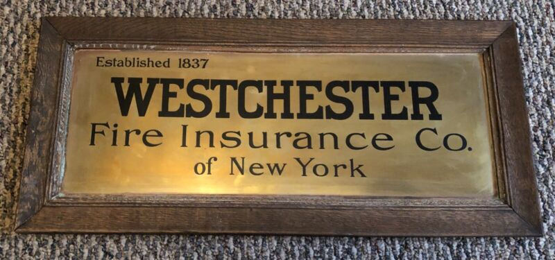 Vintage Westchester Fire Insurance Company Sign Wooden Frame