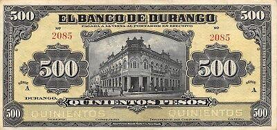 México / Durango  500  Pesos  ND. 1914  Series A  Rare  Circulated Banknote Ang