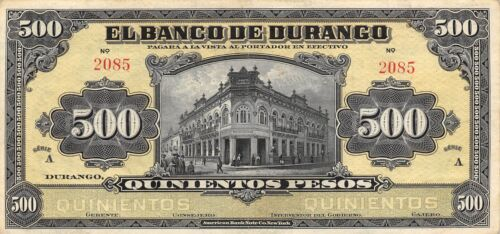 México / Durango  500  Pesos  ND. 1914  Series A  Rare  Circulated Banknote Ang