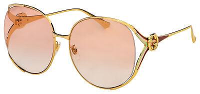 Gucci Sunglasses GG0225S 005 Gold Frame | Orange Gradient Lens ()