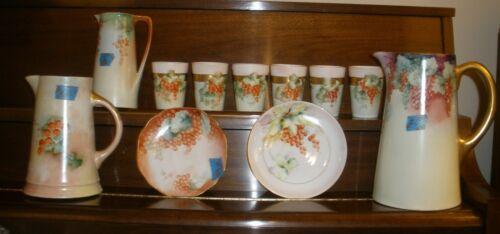 """Antique 10"""" Porcelain Pitcher Currants Grapes Vienna Austria Gold Handle EUC #6"""