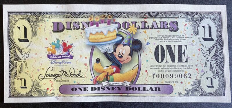 2009 Disney Dollar Celebrate Today! series $1 with Mickey & Pluto Uncirculated