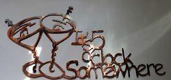 Its 5 O'clock Somewhere Martini Glasses Metal Wall Art Copper/Bronze