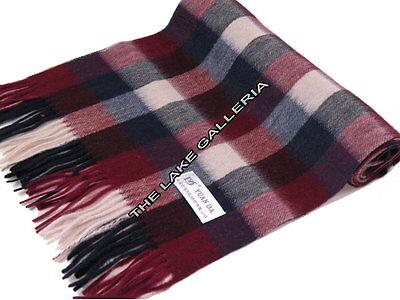 Burgundy/navy Blue/ivory Scottish Check Lamb Wool Scarf Muffler Cashmere Feel