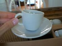 6 Mini White Espresso Cups and Saucers