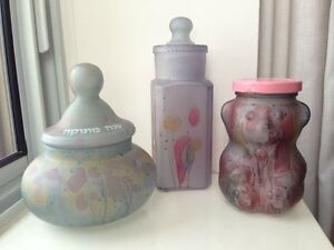 Beautiful Isreali glass bottles, jars, art pieces, hand-painted