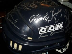 NHL Hockey Hartford Whalers Team Signed Helmet + Hock Bobblehead