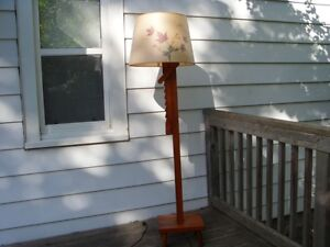 Vintage 1960's Maple Standing Lamp with Original Shade