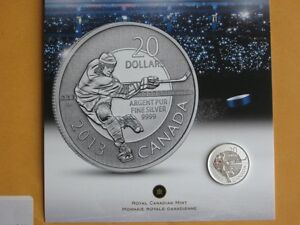 2013 CANADA $20 SILVER HOCKEY COIN, SOLD OUT AT THE MINT.