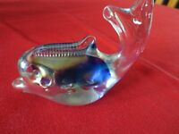Glass Whale or Dolphin paperweight