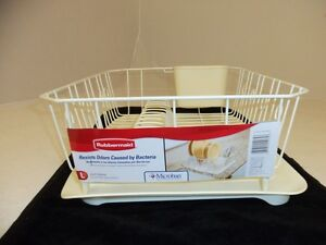 RUBBERMAID SINK LARGE DISH DRAINER 6032 & TRAY MAT BOARD 1182 SET BISQUE NEW