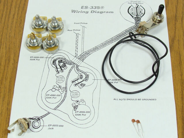 es 335 pots switch wiring kit for gibson guitar complete new es 335 pots switch wiring kit for gibson guitar complete diagram