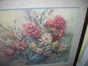 ( SOLD )PEONIES BY LENA LIU ,SIGNED PICTURE FRAME .