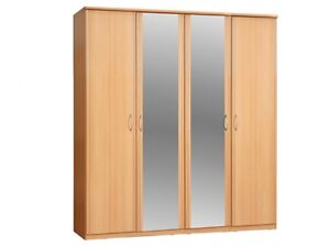 or beech large wardrobe 4 door mirror wardrobe sliding mirror doors