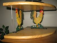 ROOSTER CAST IRON/ WOOD CORNER SHELF UNIT