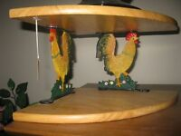CAST IRON ROOSTER / WOOD CORNER SHELF UNIT - MINT