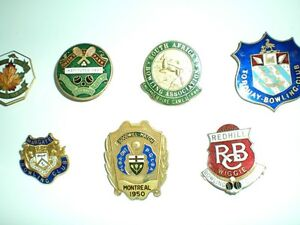 LAPEL PINS  FROM THE 20s AND 30s LAWN BOWLING, TENNIS CLUBS