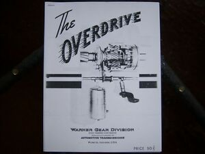 Borg Warner overdrive instruction manual London Ontario image 1