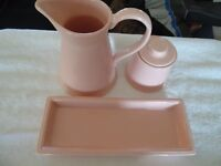 Classic Trio of Wade Pottery Dusty Rose Dishes