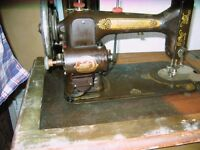 "ANTIQUE ""DOMESTIC"" SEWING MACHINE IN CABINET"