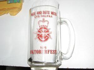 GLASS OKTOBERFEST MUG 1976 WO/SGT'S MESS CFB HALIFAX 40 YRS OLD