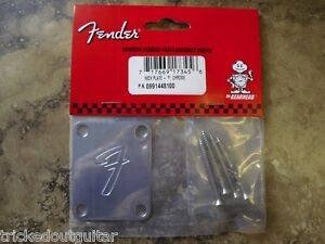 FENDER F NECK PLATE CHROME 0991448100 FITS STRAT TELE AND FENDER BASSES