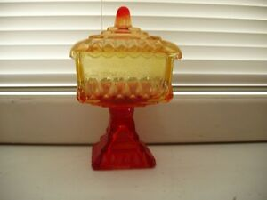 Vintage Amberina Covered Wedding Candy Dish