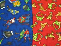 Sewing Fabric...Hockey & Dragon Prints..flannelette by Northcott