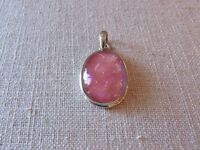 pink dichroic glass and 925 silver pendant