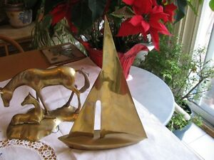 SOLID BRASS SAIL BOAT.