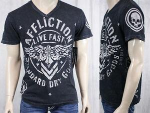 AFFLICTION-Mens-T-shirt-STRONGHOLD-live-fast-v-neck-black-lava-wash-A6409