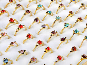 Wholesale Jewelry Lots 30pcs Rhinestone Gold Plated Rings New Free shipping