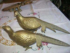 LARGE , VINTAGE SOLID BRASS PHEASANTS .
