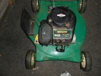 Lawnmower gas needs repair.