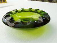Green Glass Ashtray or Scalloped dish