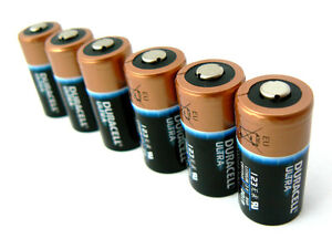 6 x Duracell ULTRA USA made CR123A (123) 3V Lithium Batteries