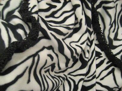 Zebra Striped Fleece Throw Blanket Quilt - Black And White With Crochet Edge