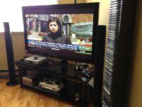 Meuble Tv En Verre Noir avec Support pour Télé inclus (Rack)
