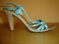 Turquoise strappy cork heel sandals
