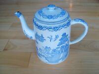 Vintage Tea Pot - Porcelain Glazed Metal w/Blue Oriental Pattern