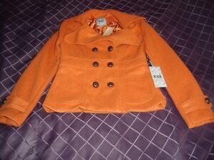 BNWT Orange Wool Pea Coat Size Small