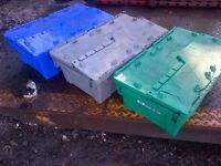 Plastic Tote Bins, Used, Stackable, Nestable
