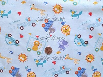 Sale Clearance Free Spirit Dena Designs Happi Tossed Animals Blue Fabric Yard