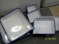 White and blue enamel photo developing tray $10