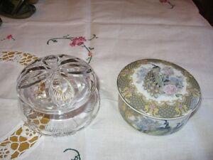 GLASS , PORCELAIN  JEW. BOXES