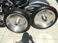 PAIR SOLID BILLET WHEELS AND HUBS WITH TIRES