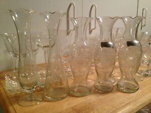 6 Cornflower crystal glass flower/bud vases